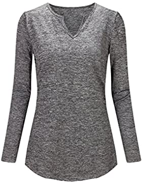 Beauty7 ES 38 Camisetas Mujeres Algodon Tejidos Casual Apretado Tight Bodycon Manga Larga Cuello Pico V-Cullo...