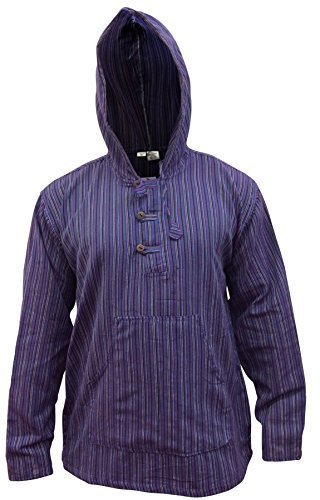 Shopoholic Fashion Mehrfarbig dharke Streifen Opa Kapuzenpulli Hemd, leicht lila Mischung
