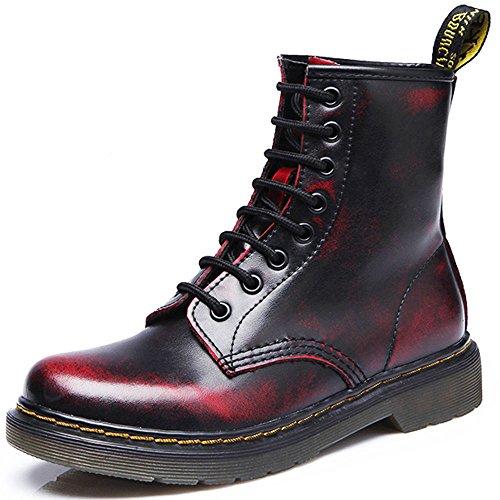 JACKSHIBO Damen Herren Klassischer Leder Knöchel Stiefel Boots Winter Warme Gefüttert Stiefeletten Schneestiefel,Plus Baumwolle,Rot-2,EU 42