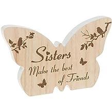 Hermanas hacer el mejor de amigos de madera mariposa bloque de mensaje cuadro