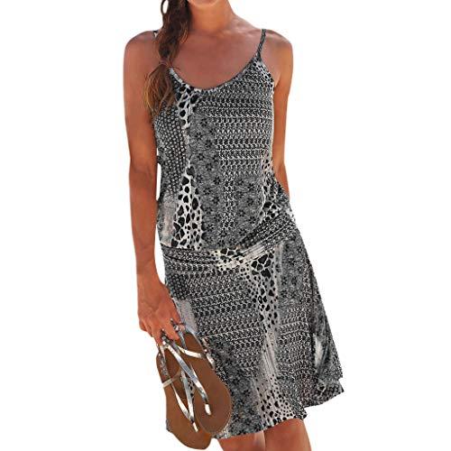 Hochwertige und einzigartige Damenbekleidung, Damen Halfter Kragen-Print ärmelloses lässiges Mini-Strandkleid WUDUBE-Fachgeschäft