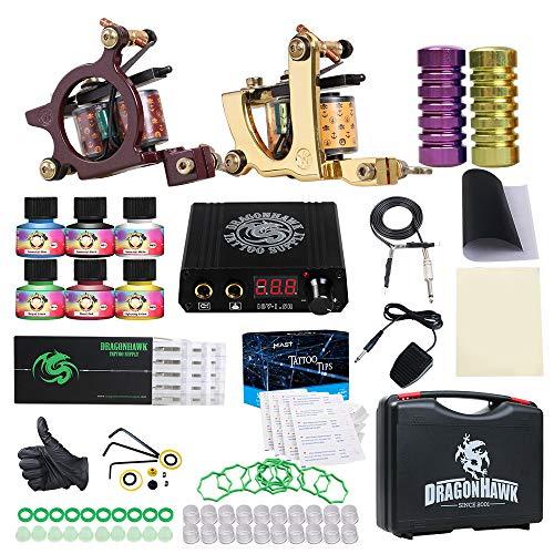 Dragonhawk Tattoo Kit 2 Pro Tattomaschine Tattoo Machines Gun Tattoo Power Supply Tattoo Needles -