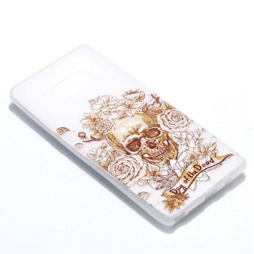 inShang Galaxy Note 8 Custodia [Trasparente cover Galaxy Note 8] [luminoso nel buio], comoda Cover posteriore di case di stile di protezione Skeleton Rose