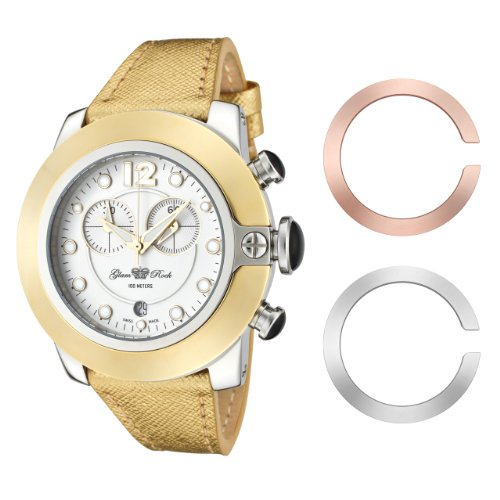 Glam Rock Women's GR32105 SoBe Chronograph White Dial Gold Textured Leather Watch