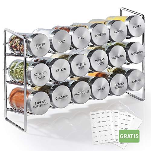 Vomeno Gewürzregal mit 18 Edelstahl Gläsern - Universal Küchen-Organizer inkl. Gewürz-Gläser - Hochwertiger Gewürzständer/Kräuter-Regal im Set (leer)