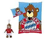 Geschenk-Set FC Bayern München Kinder Bettwäsche Berni plus Maskottchen BERNI mit Sauger für Kinder, Auto oder Fenster