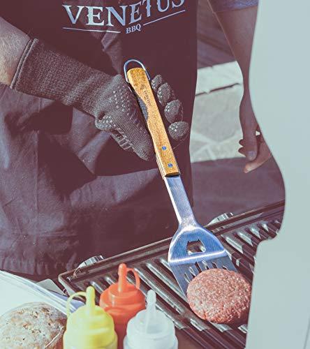 51 nrJs7fQL - VENETUS-BBQ Grillbesteck extra lang aus edlem Akazienholz | Premium Grillzubehör 3 teilig: Grillzange, Grillwender und Grillpinsel | Ideales Grill-Geschenk für Männer