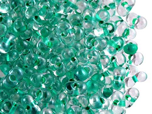 20gr Farfalle Tschechisch Glasperlen in Form von Schmetterlingen 3,2x6,5mm, Crystal Aqua Zircon Lined (Aqua Lined Crystal)