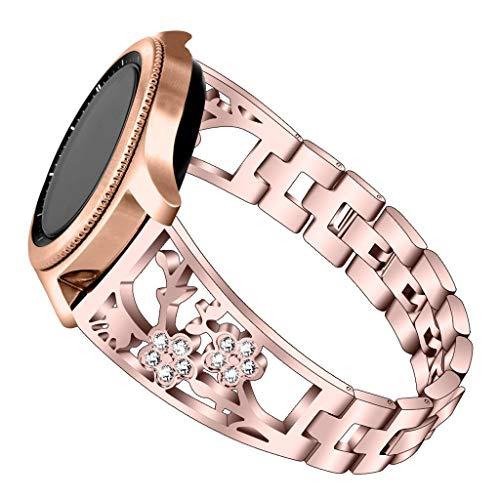 Glowjoy Kompatibel für Samsung Galaxy Watch 42mm/Active 40mm,Rostfreier Edelstahl Uhrband Kristall Strass Diamant Armbändern Jewelry Edelstahlband Watch Strap Zubehör Damen Herren (Rosa) - Herren-erweiterbar-uhr Bänder