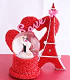 #3: Valentine Gifts Snow Globe Dome Eiffel Tower Double Heart with Light by Lilone | Gift for Girlfriend Boyfriend Husband