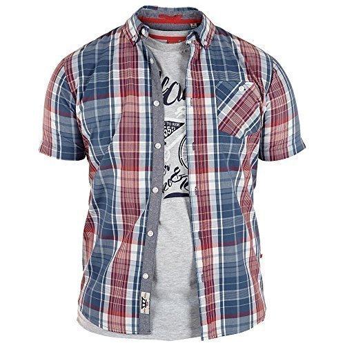 Uomo Maniche Corte Camicia A Quadri & T-shirt Set Due Pezzi By D555 Duke Misura King - Blu scuro/Rosso - VINCENT, 5XL