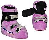 Hausschuhe - als lila / violette Skischuhe - SUPERWARM - Gr. 23 - 24 - gefütterte Plüschhausschuhe / Boots / Hausstiefel / Hausschuh Stiefel warm Skischuh / für Kinder Größe Erwachsene lustig Mädchen Damen Frauen
