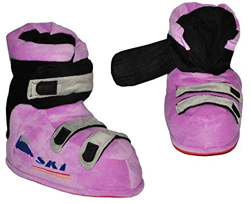Hausschuhe - als lila / violette Skischuhe - SUPERWARM - Gr. 25 - 26 - 27 - 28 - gefütterte Plüschhausschuhe / Boots / Hausstiefel / Hausschuh Stiefel warm Skischuh / für Kinder Größe Erwachsene lustig Mädchen Damen Frauen