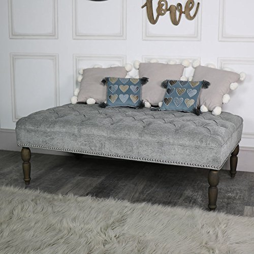 Silber Grau gepolsterten Leinen Bench