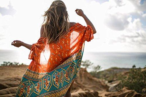 Damen Sommer Chiffon Strandkleid im farbenfrohen Kimono-Look als bequemes und luftiges Long Shirt oder Strandbluse mit halblangen Ärmeln über einem Bikini zu tragen (CP-CF) Orange