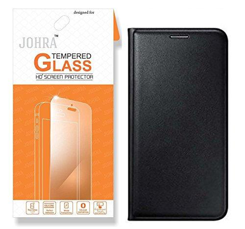 Johra Combo Of Premium HD+ Tempered Glass Screen And Black Leather Flip Case Cover For Samsung On8