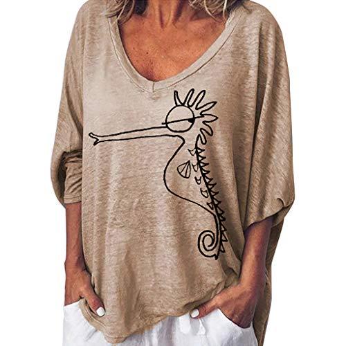 Lazzboy Plus Size Frauen Lange Kurze Gedruckt Tops Bluse T-Shirt S-5XL,Damen Kurzarm Blusen V-Ausschnitte Shirt Oberteile Beiläufiger Sommer Fester Oansatz Mit Kurzen(Khaki,S)