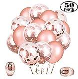 Whaline 50 Stück Rose Gold Konfetti-Ballon-Set mit 24 Stück Latexballons und 24 Stück Konfetti-Ballons mit 2 Stück Bändern für Party Hochzeit Geburtstag Baby Shower Valentinstag