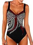 heekpek Costumi Interi Donna Vintage Brasiliana Imbottito con Stampa Tribale Costume da Bagno Intero Piscina Vita Alta Donna Bikini Set Push Up Monokini Mare Piscina Multicolore