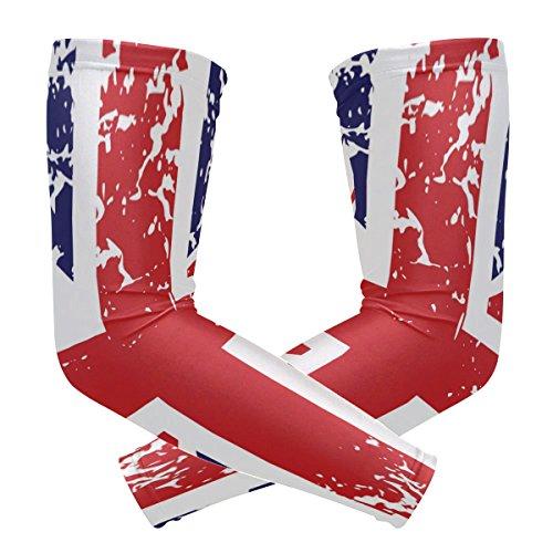 BENNIGIRY Retro Union Jack UK Flag Arm Sleeves UV-Schutz für Herren Damen Sonnenschutz Handschuhe Laufen Golf Radfahren fahren fahren Langarm Abdeckung 1 Paar -