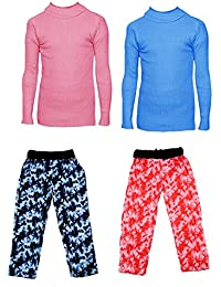 IndiStar Boys Combo Pack For Winter(Pack of 2 Printed Lower and 2 Wollen Full Sleeves T-Shirt/Inner/Skivvy )_Pink::Sky Blue::Multicolor_6-7 Years_360192010110-0607-IW-P4-28