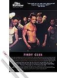1art1® Poster + Suspension : Fight Club Poster (91x61 cm) Brad Pitt, Film Review Collection (Fight Scene) Et Kit De Fixation Transparent