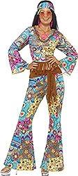 Smiffy's Women's Hippy Flower Power Costume with Top Trousers Headband and Belt, Multi, Medium