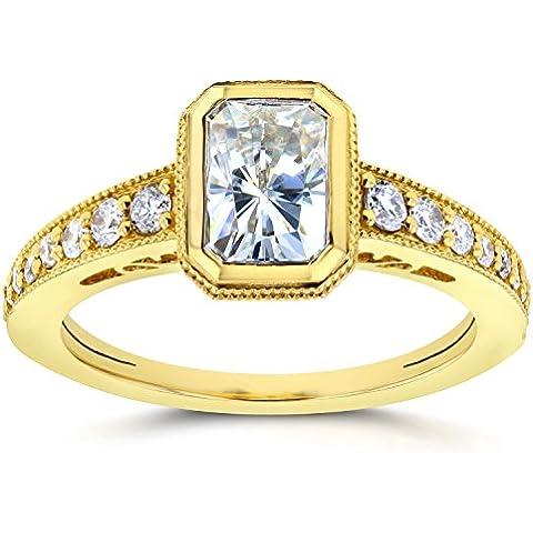 Moissanite, rosa, lunetta con diamanti 1 & Anello solitario 1/2 CTW in oro giallo da 14 k - Lunetta Diamante Solitario Anello