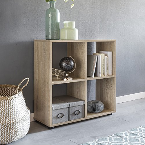 FineBuy Design Bücherregal SARA mit 4 Fächern Sonoma Eiche 70 x 72 x 29 cm | Standregal Holz Regal...
