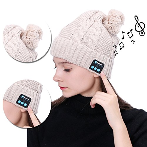 th Winter Mütze Beanie mit Stereo Kopfhörern Eingebautem Mikrofon Freisprechanlage Strickmütze Ultra Weich Soft Wintermütze Outdoor Sports Wolle Earflap Longra Herbst Stricken Hat Kompatibel mit Smartphones Handys Tablets iPhone iPad Laptops(iPhone X/8/8 Plus/7/7 Plus/6/6 Plus/6S/6S Plus/SE/5S/5,Samsung Galaxy Note 8/S8 Plus/S8/S7/S7Edge,Huawei Mate 10/ 9/P10 Plus/P10/P9/P9Lite,LG K10/K8 2017,Oneplus 5/3/3T, Sony Xperia,Moto etc) - Beige (Clevere Kostüme Für Mädchen)