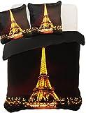200x200 cm violett Pflaume gelb schoko 3D Microfaser Bettwäsche Bettbezug Bettwäschegarnitur mit zwei Kissenbezügen 80x80 cm Eiffelturm Eiffel Tower Pop Art PIERRE