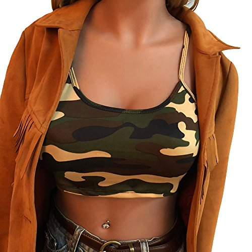 BHYDRY Frauen Camouflage Sleeveless Tank Top Bustier BH Weste Crop Top Bluse ()