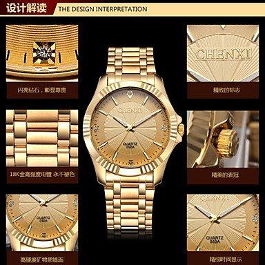 Schöne Uhren, Chenxi goldene Mode Herrenuhr Edelstahl Quarz-Armbanduhr ( Farbe : Gold , Großauswahl : Einheitsgröße )