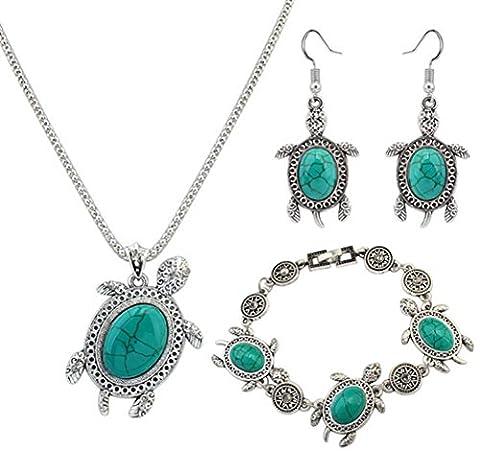 Wangjianfeng Petite tortue rétro bijoux en trois parties collier bracelet boucles d'oreilles bijoux .