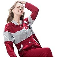 DMMSS Coppia pigiama cotone manica lunga Cardigan maglione Casual pigiameria