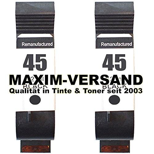 2X MAXIMPRINT XL Drucker-Patrone ersetzt HP 45 - Schwarz/Black - 51645AE (Ed-drucker)