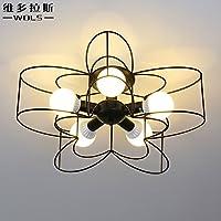 KHSKX Lampada da soffitto,LED a cinque punte giallo soggiorno soffitto moderno minimalista di illuminazione creativa in ferro battuto bar sala da pranzo Camera da letto lampada lampada da soffitto 600mm 230mm , nero