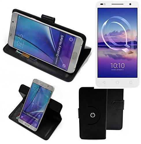 K-S-Trade® Hülle Schutzhülle Case Für -Alcatel U5 HD Dual SIM- Handyhülle Flipcase Smartphone Cover Handy Schutz Tasche Bookstyle Walletcase Schwarz (1x)