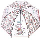 Einhorn Kinder Schirm für Mädchen,Junge - Stockschirm mit Sicherheitsöffnung - Robuster und Windfester Regenschirm mit Transparenter Kuppel - 3 bis 12 Jahre - Durchmesser 84 cm