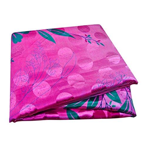 PEEGLI Frauen Jahrgang Gedruckt Sari Rosa Seide Mischung DIY Recycelten Vorhang Drapieren Stoff Indischen Saree (Seide Sari Rosa)