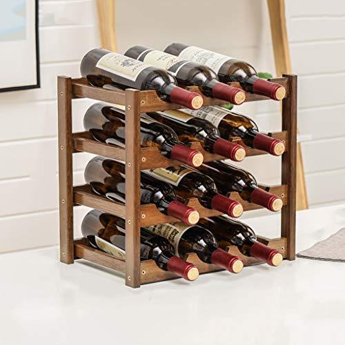 WLNKJ Modular Wine Rack - Bambus Weinregal Lagerregal Aus Holz Weinregal - Kleine Arbeitsplatte Weinregal (Multi Größe),4layer - Modular Wine Rack