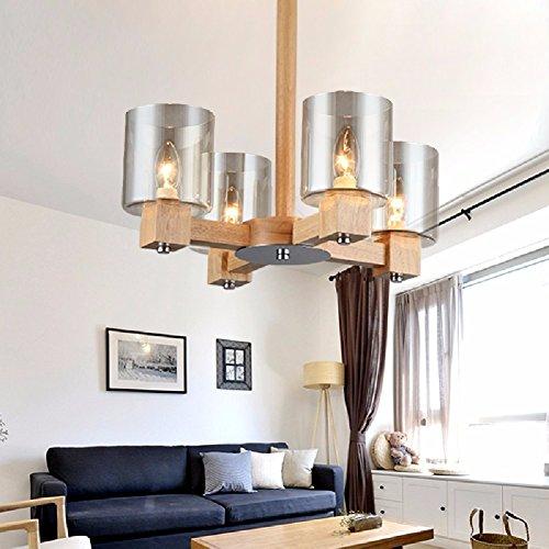 KHSKX Salotto creativo legno lampadari, lampadari in vetro di legno