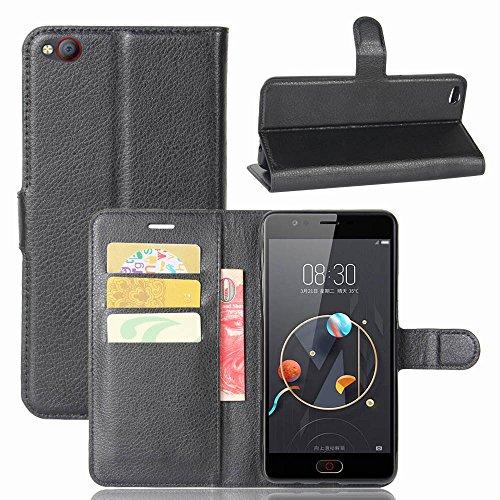Easbuy Pu Leder Kunstleder Flip Cover Tasche Handyhülle Case Mit Karte Slot Design Hülle Etui für ZTE nubia M2 Lite Smartphone Handytasche