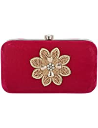 Arisha Kreation Co Women's Velvet Clutch (Red)