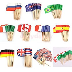 Generic France : 50x Nation Flags Picks Paper Toothpick Food Fruit Cake Cocktail Sandwich Decor