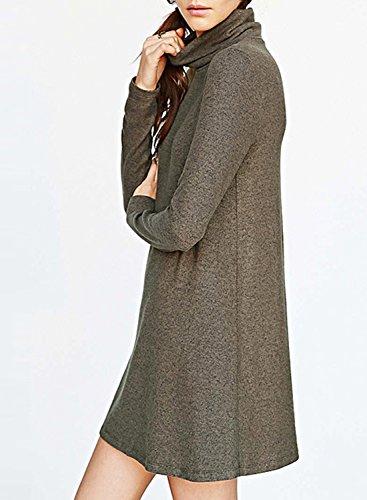 Azbro Women's Heathered Turtleneck Slim Fit Dress brown