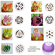 HPK Big Russian Nozzle's for Cake Decorating Icing Piping Nozzles with Triple Coupler Pack & Icing Bag (Assorted Designs)