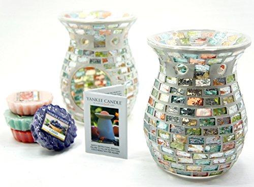 2x Offizielle Yankee Candle Wax Melt Havana Mosaik Wärmer Brenner inkl. 4x Verschiedene Tarts (Brenner Wärmer)