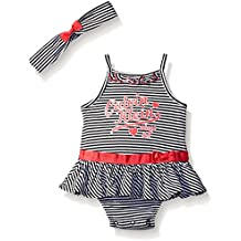 Calvin Klein Baby Girls' Stripe Jersey Sunsuit with Headband