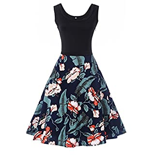WIWIQS Women Vintage Retro Floral Sleeveless Casual Party Tank Dresses - Blue - XX-Large